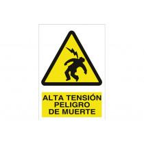 Señal advertencia pictorama y texto - Alta tensión peligro de muerte