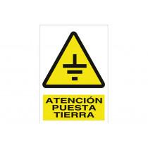 Señal advertencia pictorama y texto - Atención puesta tierra
