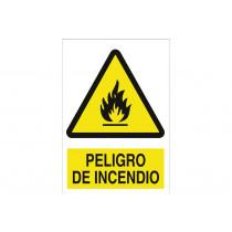 Señal advertencia pictorama y texto - Peligro de incendio