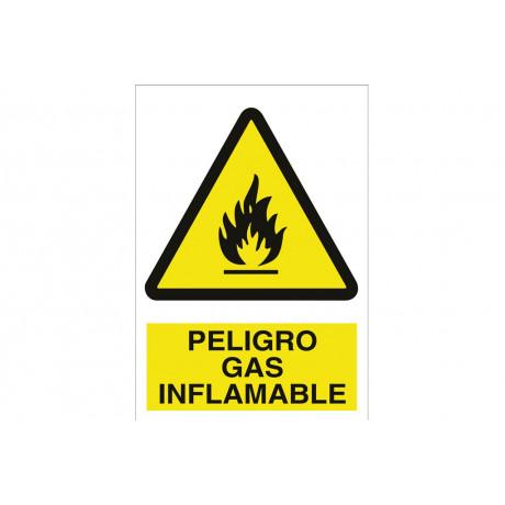 Señal advertencia pictorama y texto - Peligro gas inflamable