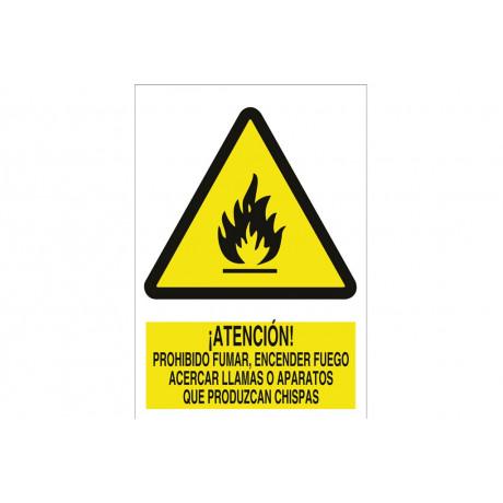 Señal advertencia pictorama y texto - No encender fuego-llamas-chispas