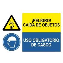 Señal combinada peligro caída de objetos y uso obligatorio de casco