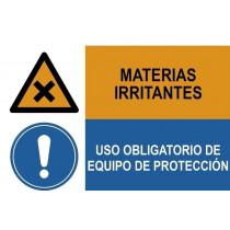 Señal combinada materias irritantes y uso obligatorio de protección