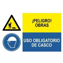 Señal combinada peligro obras y uso obligatorio de casco