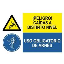 Señal combinada peligro caidas y uso obligatorio arnes