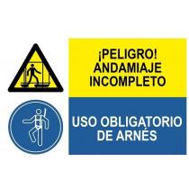 Señal combinada peligro andamiaje y uso obligatorio arnes