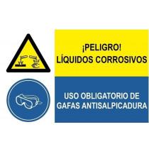 Señal combinada peligro liquidos corrosivos y uso obligatorio gafas