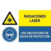 Señal combinada radiaciones laser y uso obligatorio gafas