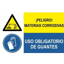 Señal combinada peligro materias corrosivas y uso obligatorio guantes