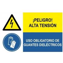 Señal combinada peligro alta tension y uso guantes dieléctricos