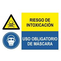 Señal combinada riesgo intoxicación y uso obligatorio mascara