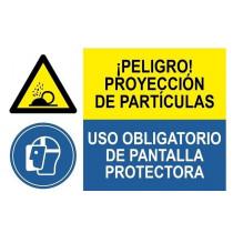 Señal combinada peligro proyeccion particulas uso obligatorio pantalla
