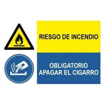 Señal combinada riesgo de incendio y obligatorio apagar cigarro