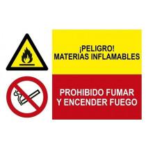 Señal combinada peligro materias inflamables y prohibido fumar