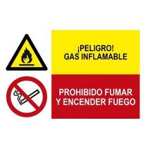 Señal combinada peligro gas inflamable y prohibido fumar