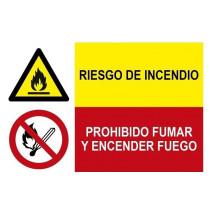 Señal combinada riesgo incendio y prohibido fumar