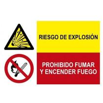 Señal combinada riesgo de explosión y prohibido fumar