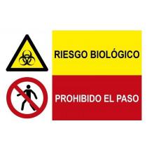 Señal combinada riesgo biológico y prohibido el paso