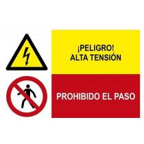 Señal combinada peligro alta tensión y prohibido el paso