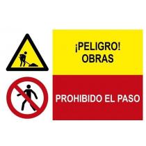 Señal combinada peligro obras y prohibido el paso