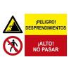 Señal combinada área de trabajo con plomo y prohibido comer y beber