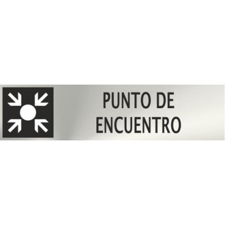 Informativa Punto de Encuentro Acero Inoxidable Adhesivo de 0'8mm 50 x 200 mm