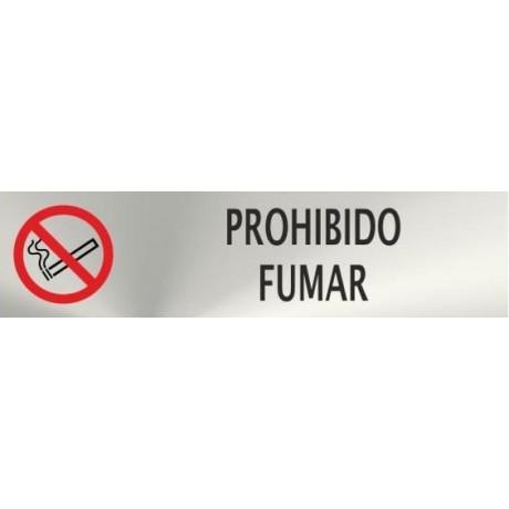 Informativa Prohibido Fumar Acero Inoxidable Adhesivo de 0'8mm 50 x 200 mm