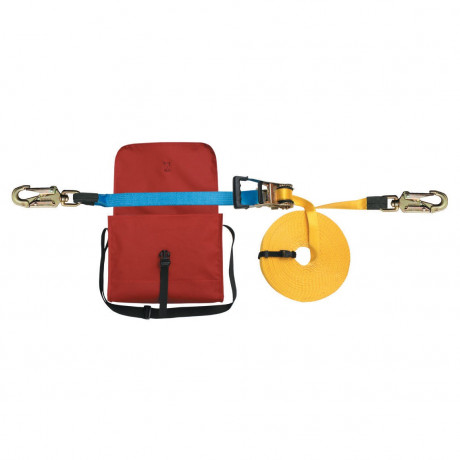 Línea de vida cinta 20m regulable, ganchos antienredos y bolsa - EN795