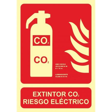 Señal Extintor CO2 Riesgo Eléctrico Luminiscente 210 x 300 mm
