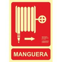 Señal Manguera Flecha Derecha Luminiscente 210 x 300 mm