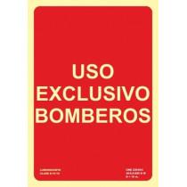 Señal Uso Exclusivo Bomberos Luminiscente 210 x 300 mm
