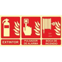 Señal Extintor - Pulsador de Alarma - Boca de Incendio Luminiscente 300 x 600 mm