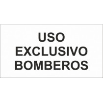Señal Uso Exclusivo Bomberos (Adhesivo) Luminiscente 230 x 120 mm (Pack de 10)
