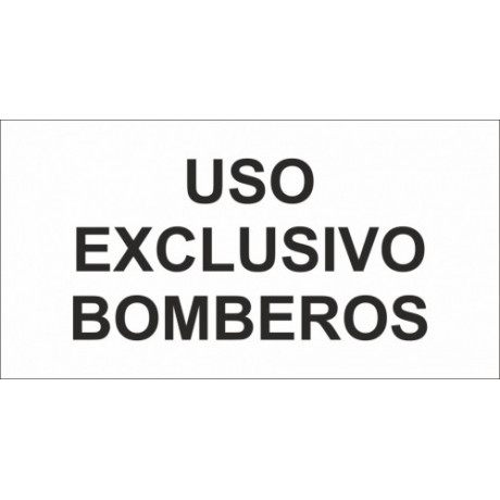 Señal Uso Exclusivo Bomberos (Adhesivo) Luminiscente 230 x 120 mm (Pack de 10)