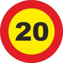 Señal Vial Metálica 20 Km/h Velocidad Máxima Diámetro 500 mm