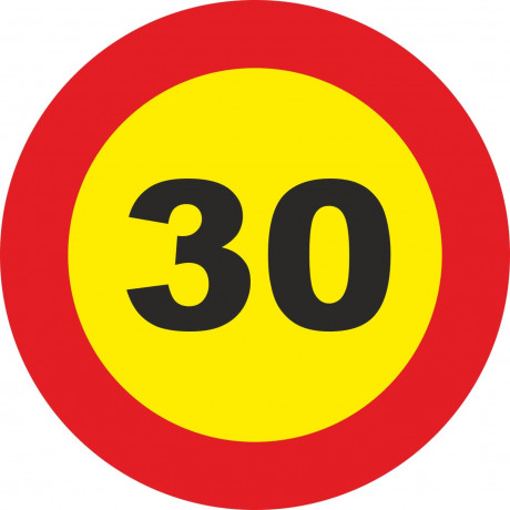 Señal Vial Metálica 30 Km/h Velocidad Máxima Diámetro 500 mm