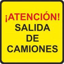 Señal Vial Metálica ¡Atención! Salida de Camiones Lado 500 mm