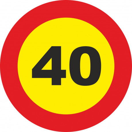 Señal Vial Metálica 40 Km/h Velocidad Máxima Diámetro 500 mm