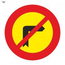 Señal Vial de Bolsa Giro A La Derecha Prohibido 700 x 700 mm