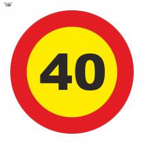 Señal Vial de Bolsa 40 Km/h Velocidad Máxima 700 x 700 mm