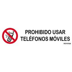 Informativa Prohibido Usar Teléfonos Móviles Acero Inoxidable Adhesivo de 0'8mm 50 x 200 mm
