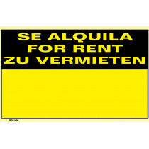 Señal Se Alquila/For Rent/Zu Vermieten