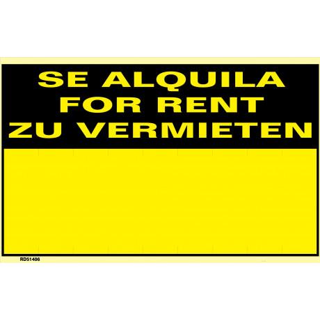 Señal Se Alquila/For Rent/Zu Vermieten