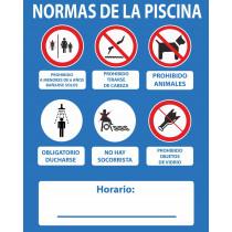 Señal Normas de La Piscina No Hay Socorrista 500 x 400 mm