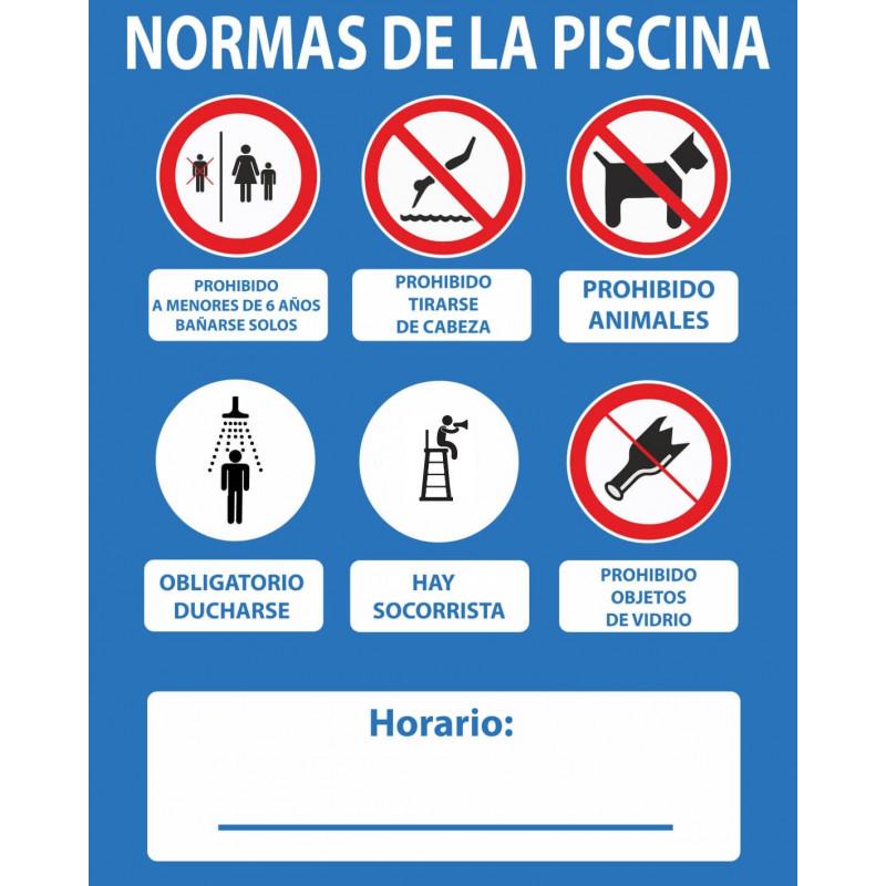 Señal Normas de La Piscina Sí Hay Socorrista 500 x 400 mm 15e25f0d908