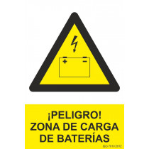 Señal ¡Peligro! Zona de Carga de Baterías Con Tintas UV