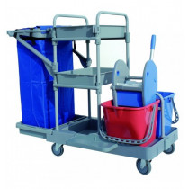 Carro de limpieza multifuncional 2 X 15 L con bandejas y prensa