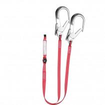 El. amarre doble cinta 30mm absorbe energía gancho 64mm EN 354/355/362