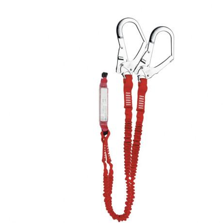 El. amarre doble cinta elástica con absorbedor energía y gancho 56mm