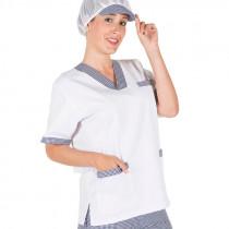 Blusa chica blanco y cuadros